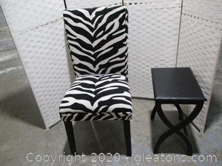 Zebra Accent Chair with Side Table