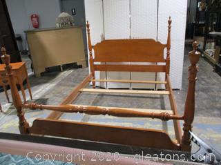 Vintage Chippendale 4 Post Bed Frame