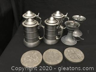 Pewter tankards 2 candle holders and 3 coasters
