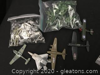 2 bags of soldiers and 5 airplanes