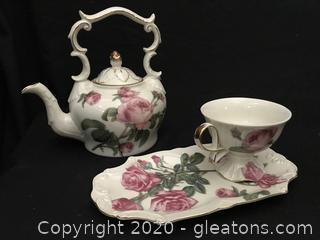Burton china Romantic Rose tea set