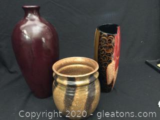 Three vases one stamped McCoy