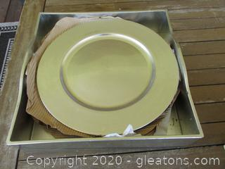 8 Silver Tone Plate Chargers in Silver Tone Carrying Tray