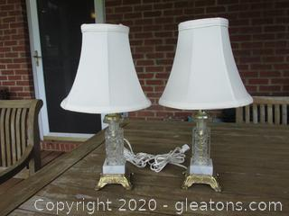 Pair of Bohemia Crystal, Marble, & Brass  Boudior Vanity Bedroom Lamps Made in Czechoslovakia [No Longer a Country]
