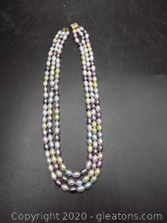 Multi-Color 3 Strand Seed Pearl Necklace with 14K Clasp
