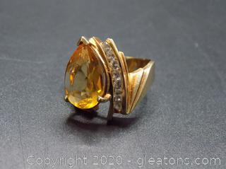 10kt Yellow Gold Ring W/Large  Pear Shaped Topaz & Diamonds