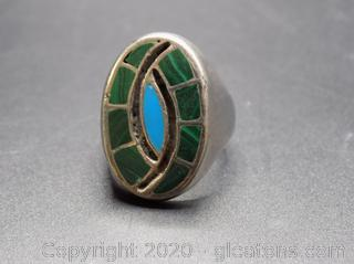 Sterling Silver Ring W/Turquoise/Malachite Inlay