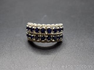 Sterling Silver 2 Row Sapphire with Diamonds Band