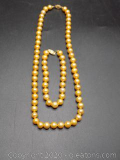 14k Gold Toned Hand Knotted Cultured Pearl Necklace + Bracelet