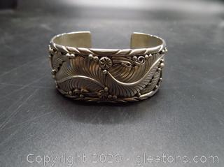 """Sterling Stamped """"Navajo"""" and """"JC"""" Designer Cuff Bracelet"""