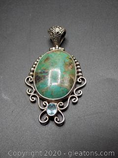 Sterling Silver Navajo Royston Green Turquoise + Blue Topaz Pendant