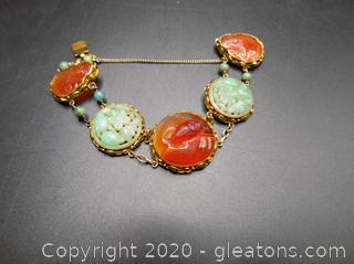 14kt Yellow Gold Rare Vintage Carved Jade Disk Art Deco Era Bracelet