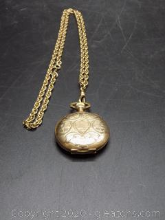 "Ladies Stamped ""Keystone Watchcase"" + Numbered Elign Necklace Watch On 12kt"