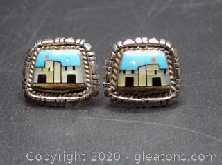 "Sterling Silver Mother of Pearl ""Zuni Tribe "" + Turquoise Earrings"