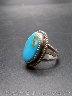 "Sterling Silver Turquoise Ring Signed ""MG"" Native American Made"