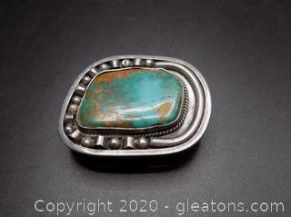 "Sterling Silver Native American ""Royston"" Turquoise Stone Belt Buckle"