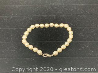 "Salt Water Pearl Bracelet 8"""