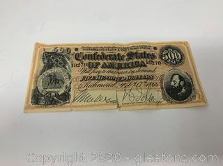 1864 #500 Confederate Note