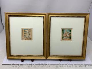 Pair of 2 Gabriele Maretti Watercolors