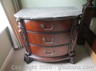 3 Drawer Night Stand with Marble Top A