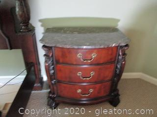 3 Drawer Night Stand with Marble Top B