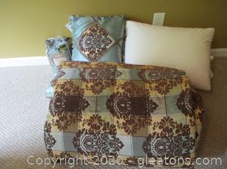 Jacobean Queen Size Bed Set 9pc