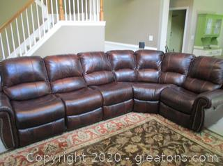 Brown Leather 5 Piece Sectional Sofa with 3 Recliners