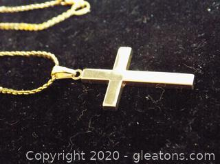 14k Gold Cross Pendant on Chain