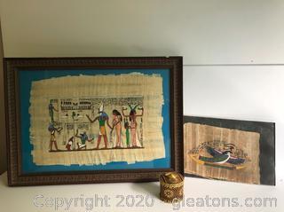 Two Egyptian Hieroglyphic Prints on Papyrus