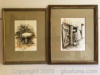 Lot of Two Framed Original John Kollock Watercolor