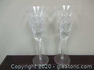 2 Waterford Crystal Toasting Flutes E