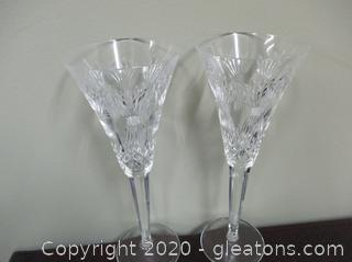 2 Waterford Crystal Toasting Flutes C