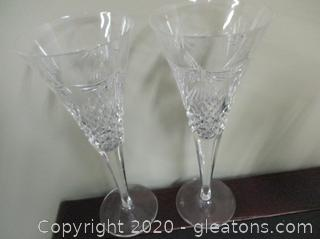 2 Waterford Crystal Toasting Flutes