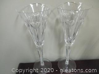 2 Waterford Crystal Toasting Flutes B