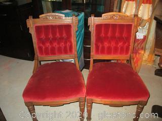 2 Antique Velvet Upholstered Chairs