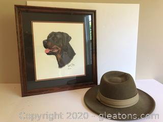 Framed Art and Wool Hat