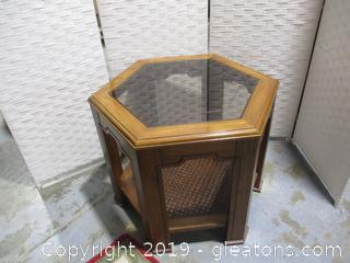Hexagon Wood, Glass and Rattan Side Table