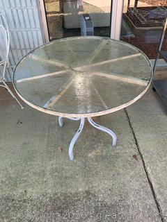 White Patio Table with Glass Top