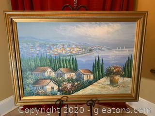 Mixed Media Original Marina Town Art on Canvas (b)