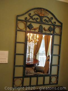 Green and Gold Iron Wall Mirror