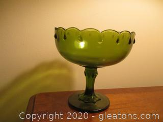 Vintage Indiana Green Glass Pedestal Bowl