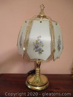 Vintage Curved Panel Lamp with Metal Base