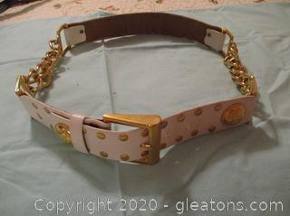 Vintage Worth White/Gold Leather Belt