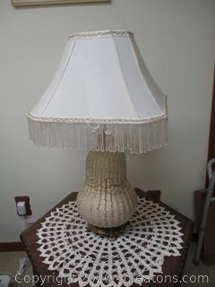 Unique Pear Shaped Lamp with Fringe Shade