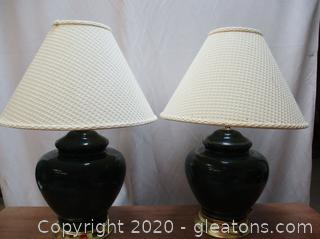Pair of 2 Green Lamps