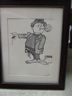 Original Framed Drawing Signed EL.Campbell
