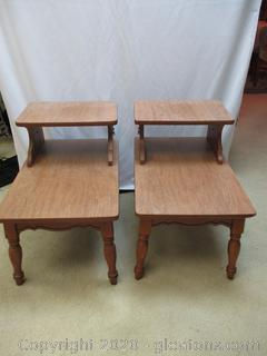 Pair of Matching Solid Wood Side Tables