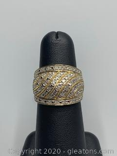 Sterling Silver Ring with Gold and Diamonds