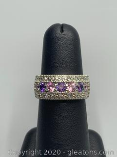 Sterling Silver Band with Diamond Amethyst and Pink Topaz