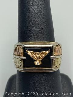 Sterling Silver and 12K Gold Eagle Ring